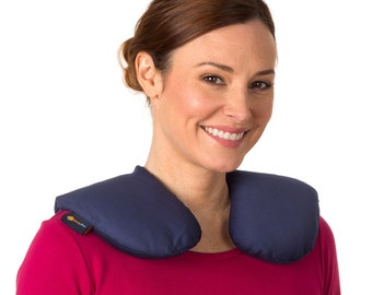 "Size Large (15""x15"") Microwavable Neck Heating Pad, Washable Cotton Cover, Navy Blue"