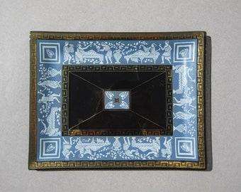 Houze Art Glass Trinket Dish Bacchanalia Classical Greece Smoked Glass Tray Roman Festival Greek Key Design Rim Blue & White Gold Accents