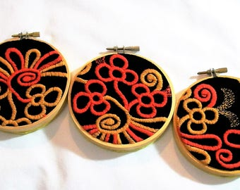 Hoop Art, Orange and Yellow Flowers on Black Velvet, Embroidery Hoop Art, Embroidery Wall Art, Wall Hanging