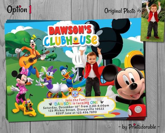 Mickey Mouse Clubhouse Invitation - Mickey Invite - Mickey Birthday Party with Minnie, Goofy, Daisy, Donald and Pluto - Customizable Photo