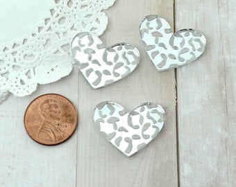 LARGE LEOPARD HEART Cabs - Set of 3 Silver Mirror Cabochons in Laser Cut Acrylic