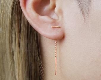 Threader Earrings, Chain Earrings, Rose Gold Earring, Rose Gold Chain, Long Drop Earrings, Dangly Earrings, Minimal Earring, Rose Gold Drop