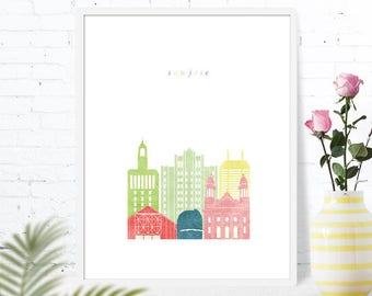 San Jose travel gift for nursery, CA, wall art decor bedroom printable, downloadable nursery prints, housewarming gift