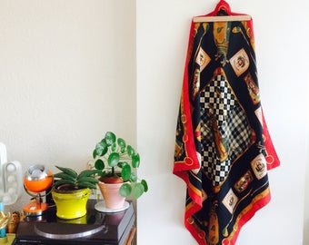 Very large shawl| vintage shawl| vintage omslagdoek| vintage halsdoek| vintage hoofddoek| golf| 60s |