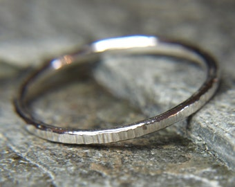 Stacking ring, hammered silver ring, 1.5mm band, Hammered texture, Sterling silver ring, textured, petite ring, Delicate ring, dainty ring