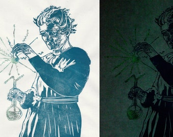 Marie Curie glows-in-the-dark Linocut Portrait, History of Science, Lino Block Print, Women in STEM, Physicist Marie Curie Portrait