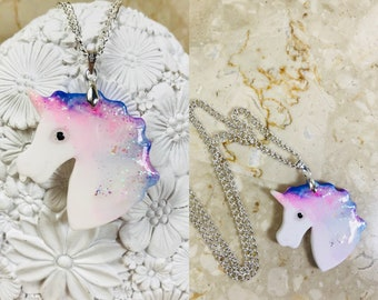 Unicorn resin pendant