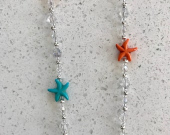 Aqua & Orange Starfish Lanyard