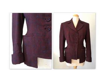 Vintage des années 40 costume veste M nouveau Look en Tweed de nouveauté de l'Utah la couture Mills