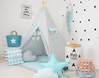 Childrens teepee, playtent, tipi, zelt, wigwam, kids teepee, tent, play teepee, wigwam with mat, lamp, glow READING SPOT with light