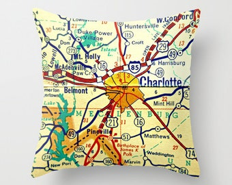 CHARLOTTE Pillow Cover, Charlotte Gifts for him, City Map Gifts, North Carolina Map Pillow, Vintage Charlotte UNC Charlotte, NC Throw Pillow