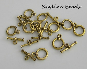 Tibetan Style Toggle Clasps - Antique Gold