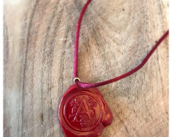 Wax Seal Initial Charm Necklace