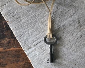 Skeleton Key Necklace - Antique Skeleton Key - Mens Key Necklace -Key To My Heart Necklace - Key to Success - Choose Your Cord