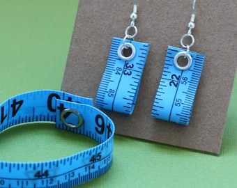 Tape Measure Jewelry Set in Blue - Earrings and Bracelet - Statement Jewelry created with Upcycled Measuring Tape