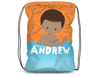 Pool Drawstring Backpack - Orange Pool Swim Bag, Blue Pool Towel Bag, Pool Personalized Backpack, You Pick Boy - Kids Personalized Gift