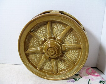 vintage Frankoma 1950 Frankoma Desert Gold Pottery Wagon Wheel Wall Pocket, Oklahoma pottery!