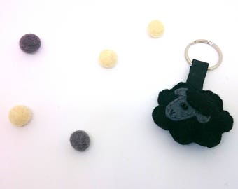 Black sheep with dark grey face - felt keychain - lamb - accessories -  gift for him - gift for her - keyholder - stuffed animals