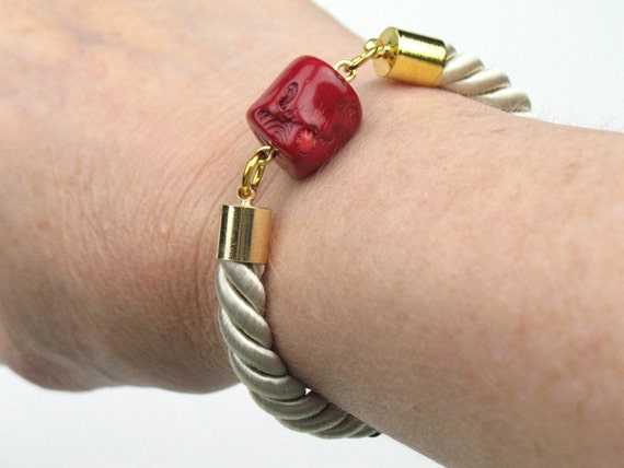 Rope Bracelet in Beige Twisted Cord with Red Coral and Gold Accents / Womens Artisan Jewelry / Gift for Her
