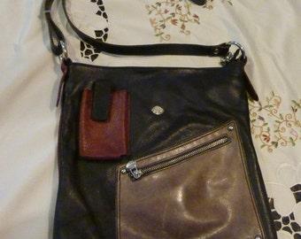 Tendance de la bourse - dames noir sac à main en cuir - Vintage ~ Made in Italy ~ accessoire à n'importe quel tenue - un cadeau parfait pour que quelqu'un de spécial