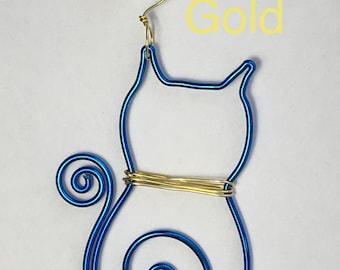 Dark Blue-colored Aluminum Wire Cat Ornament