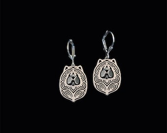 Chow Chow earrings - sterling silver.
