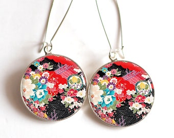 Earrings cabochon resin, Japanese pattern, art floral flowers, seigahia, multicolor