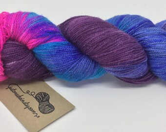 "Variegated Hand Dyed Yarn - ""Nebula"" - sparkle - 4ply/sock - 100g - 400m"