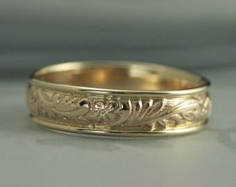 Gold Wedding Ring~Wide Gold Band~6mm Ring~Leaf Ring~Floral Band~Men's Wedding Band~Vintage Style Band~Neoclassic~Men's Gold Band~Recycled