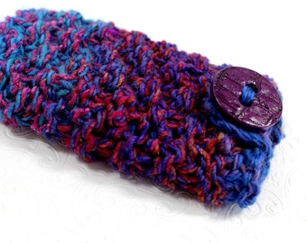 Knit Phone Sleeve Blue and Purple, Knit Phone Case, Chunky Knit Purple Phone Case, Blue and Purple Phone Sleeve