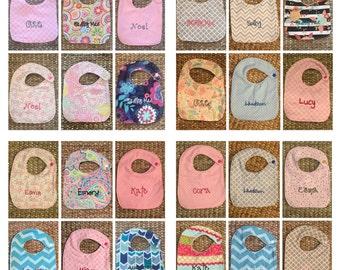10 Personalized Bibs - Choose fabric!