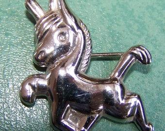 Coro Pony STERLING SILVER pin Burro Donkey