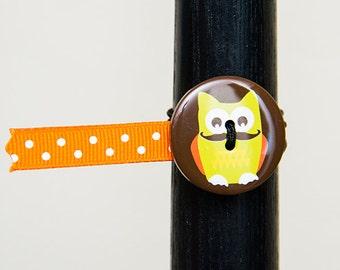 BosoBuddies - Brown with Yellow Owl w/ Orange White Dots Ribbon (1206B-050)