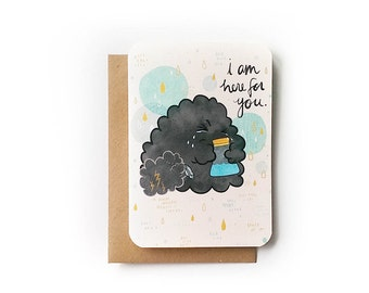 Condolence Cloud Blank Greeting Card with Recycled Kraft Envelope