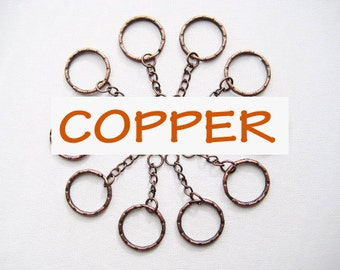 10 pcs of 5.3 cm 53 mm 2.125 inch long anitque copper key chain keychain metal split rings keyring loop for any craft, diy creative projects