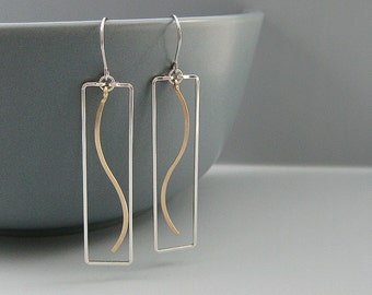 Rectangle Earrings with Gold Wave - two tone nature earrings, water jewelry, spiritual gifts