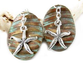 Bronze Starfish Earring - Dangle Gypsy Earrings - Boho Earrings - Two Tone Earrings - Boho Dangle Earrings - Boho Jewelry - Copper Earrings