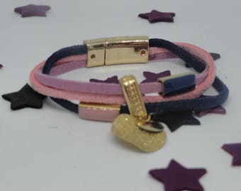Sueded, charms and enameled beads magnetic clasp bracelet