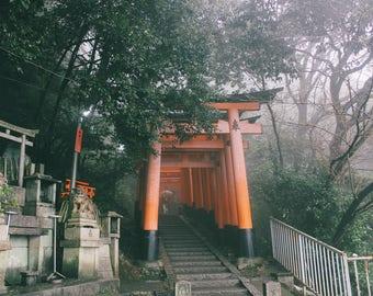 Kyoto Torii Gate Japan Shrine Japanese print black and white digital download