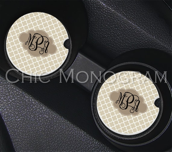 Beige Quatrefoil Monogrammed Car Coasters Cup Holder Coasters Design Your Own Personalized Sandstone Coasters Car Accessories For Tan Car