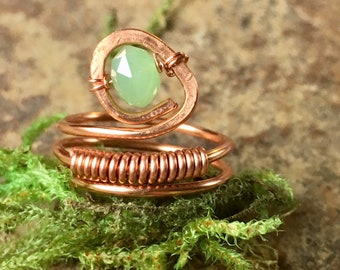 Green Glass Copper ring, copper ring, wire wrapped copper ring,statement ring, Glass ring,Women's size 7 ring