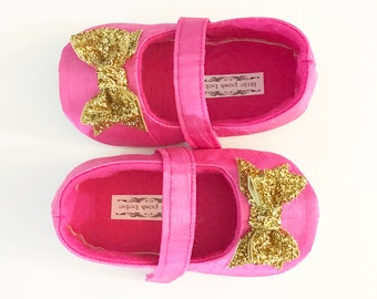 Baby Girl Shoes Toddler Girl Shoes Infant Shoes Soft Soled Shoes Wedding Shoes Flower Girl Shoes Hot Pink Glitter Gold Bow Shoes - Belle
