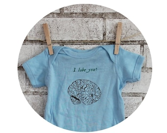 "Baby Bodysuit, Brain With Text ""I Lobe You"", Zombie, Neurologist, Brain Surgeon, Baby Clothing, Light Blue, Baby Boy One Piece Romper, Funny"