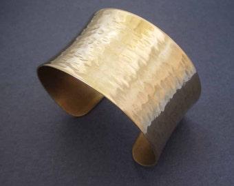 Gold Cuff Bracelet in Solid Brass Ripple Texture Hammered Brass Cuff Modern Jewelry Handmade
