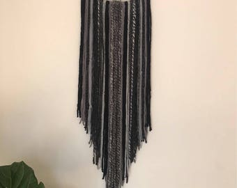 Large black and gray dream catcher/ Boho Wall Hanging/ Bedroom Decor