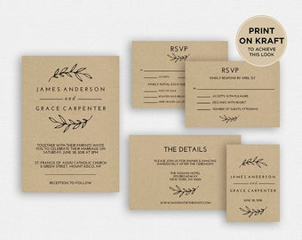 Wedding Invitation Template | Wedding Invitation, Wedding Printable | Wedding Invite Template, Wedding Suite, Instant Download | EDN 5326