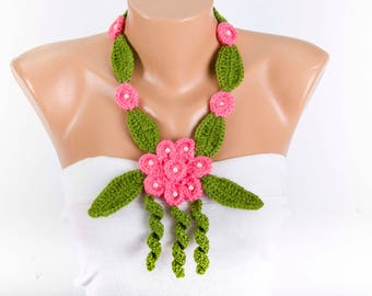 Crochet lariat necklace scarf  ,flower necklace scarf