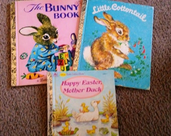 Books, Vintage Little Golden Books, Children's Book, Little Cottontail, The Bunny Book, Happy Easter Mother Duck, Hen, Chicks, Rabbits,
