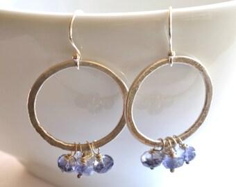Silver Hoop Earrings Iolite Dangles, Fine Silver, Hammered Hoops, Sterling Silver, Blue Gemstones