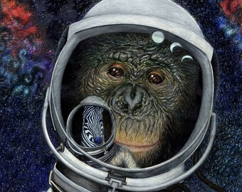 Space Ape - Giclee Print of Original Colored Pencil Drawing